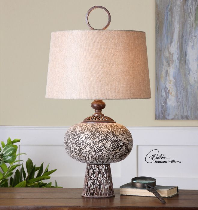 uttermost adolphus lamp textured ceramic finished in an aged ivory glaze with black undertones accented - Uttermost Lamps