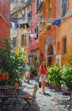 "Copyright  Barbara Jaskiewicz, ""Light of Trastevere"", palette knife oil on linen, size 20x13 in. Cityscape painting."