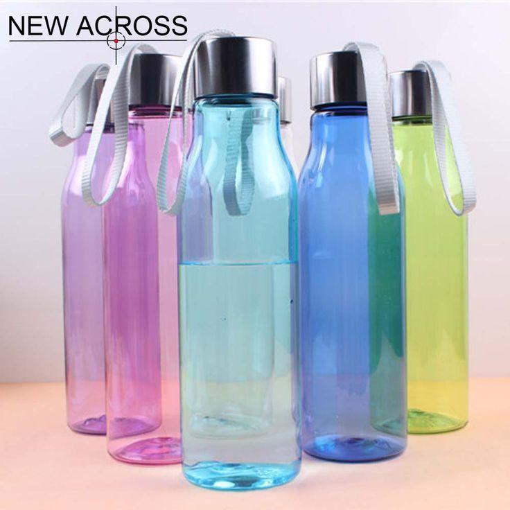 Gohide 1Pcs Candy Color Plastic Sport Drink Bottle Seal Transparent Portable Bottle With Convenient Lift Rope