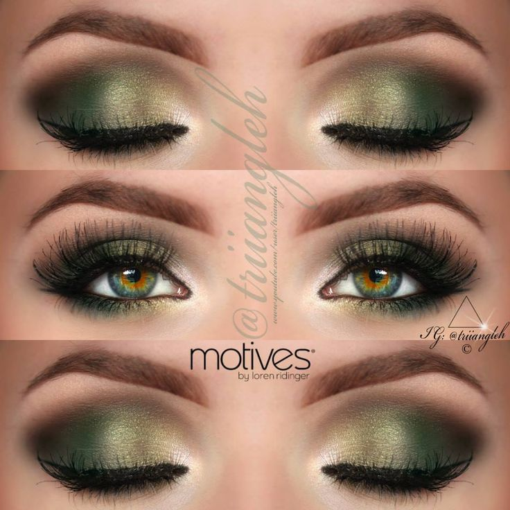 Gold and Dark Green Smokey Eye