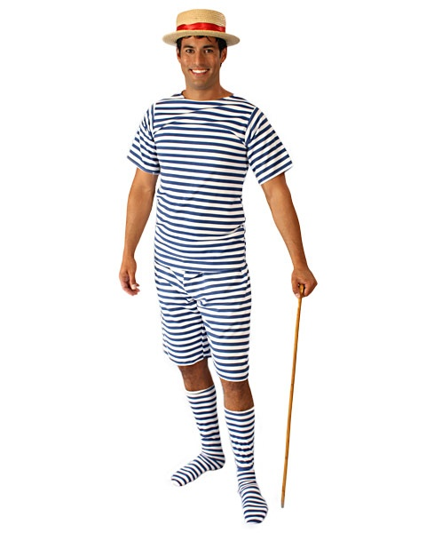 Halloween 1920s Male Bathing Suit Adult Costume Classic Mens
