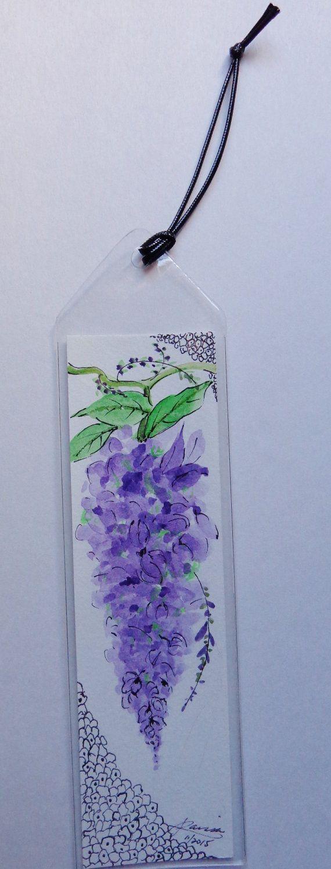 Watercolor bookmark patterns - Original Watercolor Bookmark Wisteria
