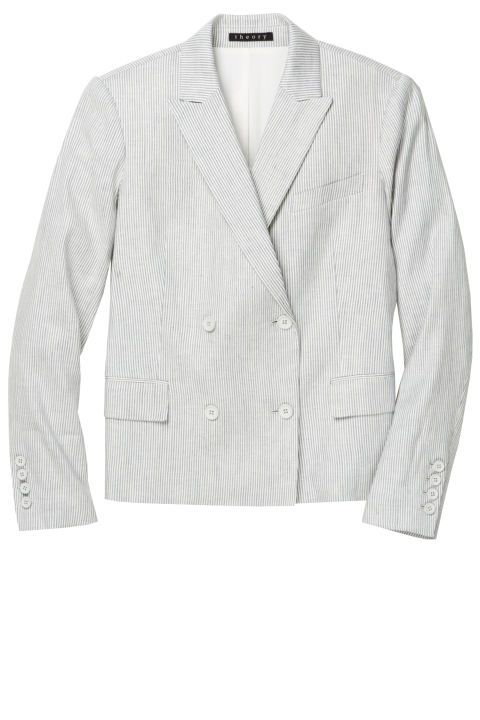 Dressing for the office during the summer is all about the right fabrics, which means swapping your structured wool blazer for a lightweight and breathable linen iteration. Theory blazer, 435, theory.com.