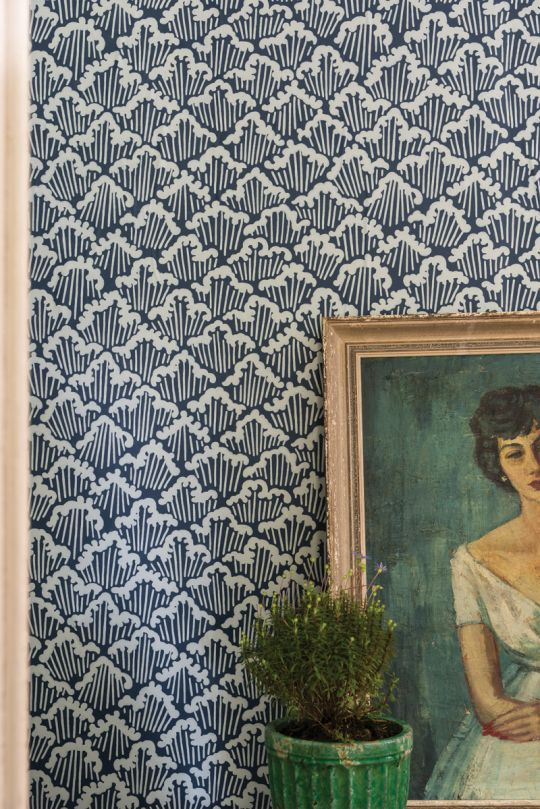 farrow and ball wallpaper, vintage oil portrait