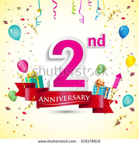 2nd Years Anniversary Celebration Design, with gift box and balloons, red ribbon, Colorful Vector template elements for your birthday party.