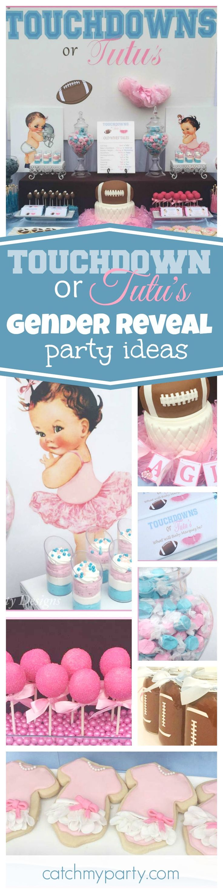 Check out this awesome Touchdown or Tutu's Gender Reveal, The cake is fantastic!! See more party ideas and share yours at CatchMyParty.com