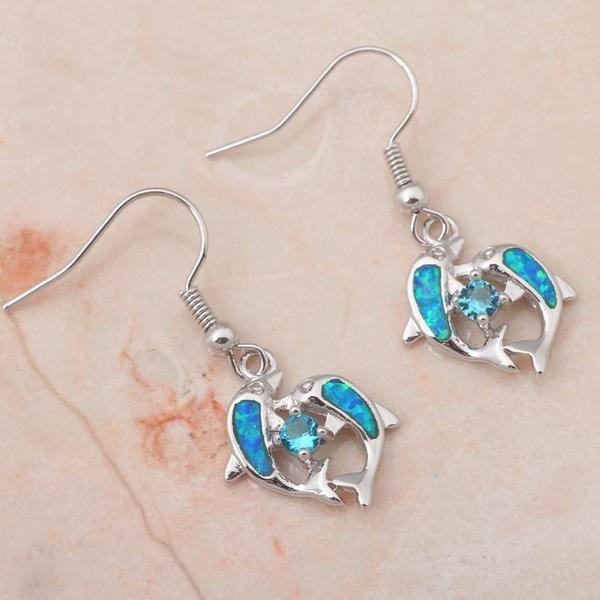 Silver Blue Fire Opal Dolphin Earrings