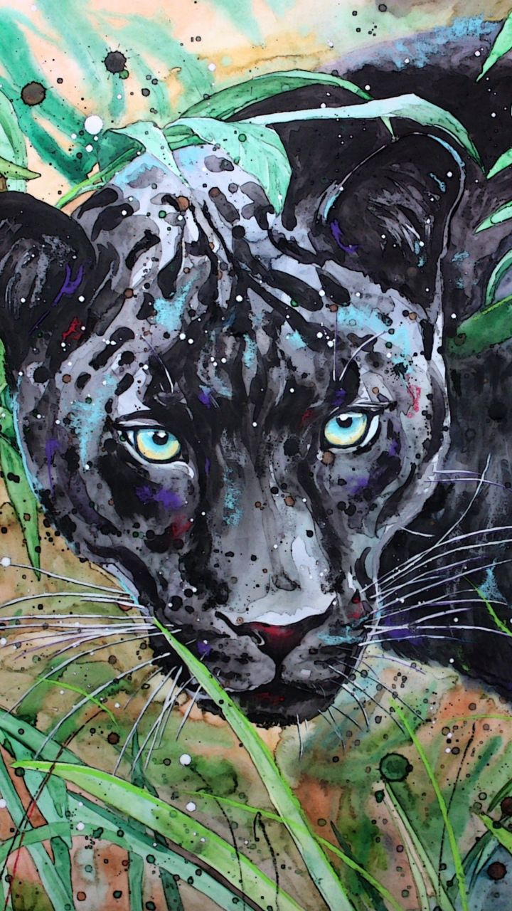 Grass Black Panther Animal Art 720x1280 Wallpaper Animal Wallpaper Leopard Art Black Cat Tattoos