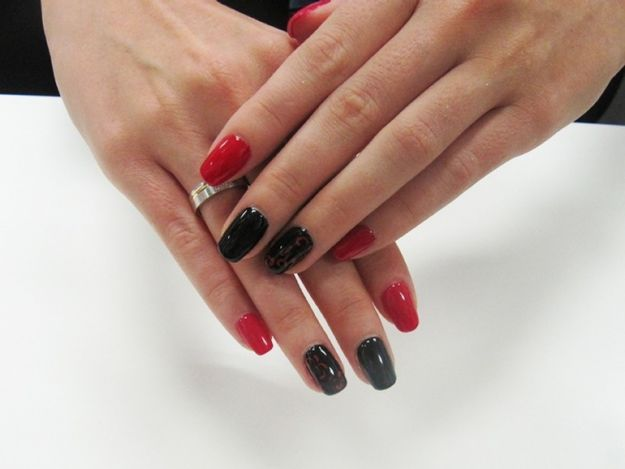 Красно-черный маникюр по фен-шуй с узором ::: onelady.ru ::: #nail #nails #nailart #manicure