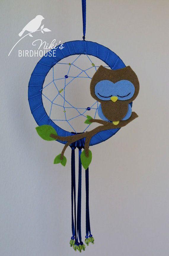 Azul búho cazador de sueños  vivero móvil