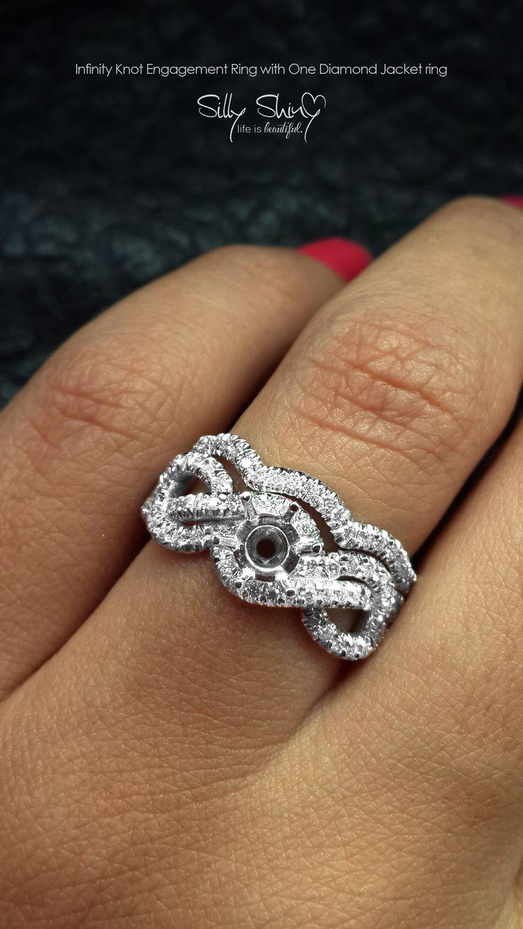 Infinity Knot Diamond Engagement Ring With One Jacket Diamond Band 14K