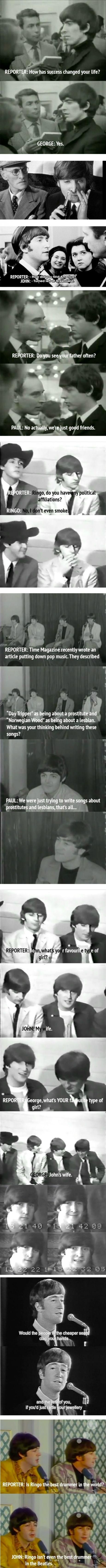 Witty comebacks from The Beatles during interviews.
