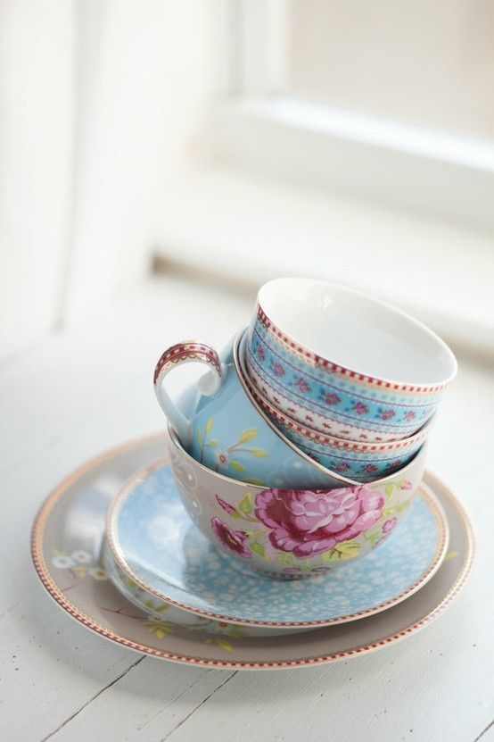 Cups and saucers do not have to match...just be pretty