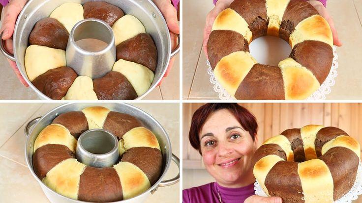 come preparare il pan brioche bicolore al cacao da cuocere in forno o con il fornetto versilia, ciambellone bicolore per colazione