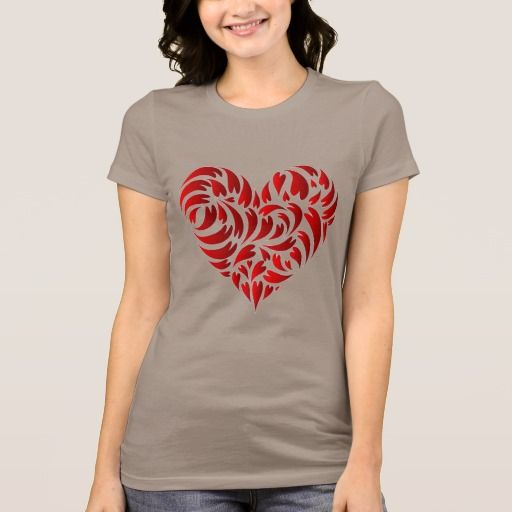 Stylish Red Heart on Pebble Brown T-shirt