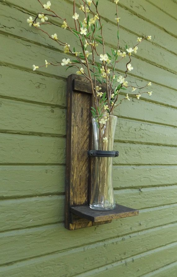 Rustic Wall Sconce. Wood Wall Sconce. Wall Vase Sconce. Vase Sconce. Flower Vase. Farmhouse Decor. Shabby Chic. Wood Sconces. Flower Sconce