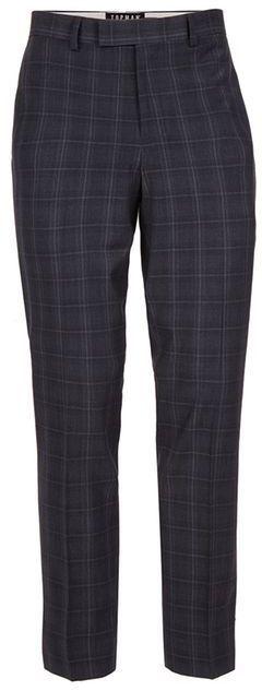 Topman Navy Check Muscle Fit Suit Pants