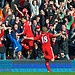 LIVERPOOL, ENGLAND - Sunday, March 6, 2011: Liverpool's Luis Alberto Suarez Diaz celebrates after setting up Dirk Kuyt for his side's first goal during the Premiership match at Anfield. (Photo by David Rawcliffe/Propaganda)     #Europe's football clubs