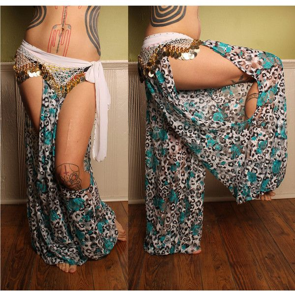 Exotic Tribal Belly Dance Harem Pants Leopard Print Lace Cut Out Leg... ($78) ❤ liked on Polyvore featuring grey, pants and women's clothing