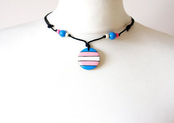 Transgender Pride Symbol Colours Necklace by IntheWitchwood