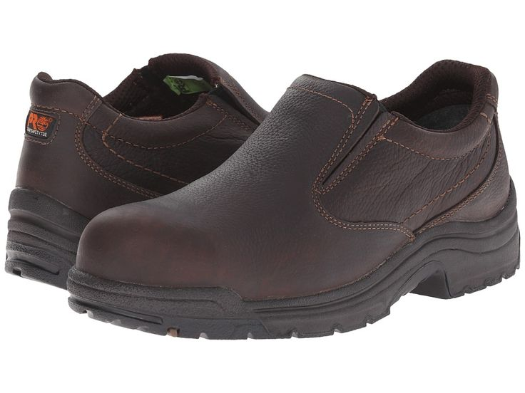 Timberland PRO TiTAN(r) Slip-On Alloy Safety Toe Men's Industrial Shoes Camel Brown Oiled Full-Grain Leather