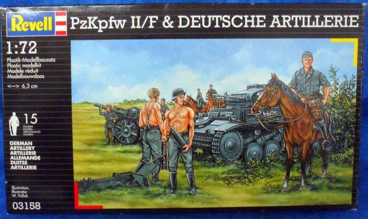 Revell PzKpfw II/F & Deutsche Artillerie Tank, men, horses Plastic 1/72  117 #Revell