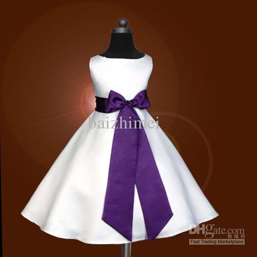 Wholesale Girls Dress - Buy Free Ship,custom,cheap,bowknot,purple Sash,Pageant Party,flower Girls Dress,Princess Skirt,white, $25.14   DHgat...