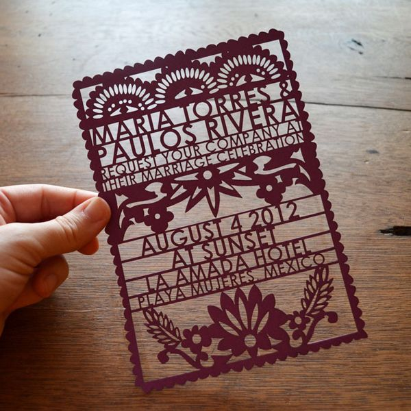 Papel Picado Wedding Invitation by http://www.aviedesigns.com/