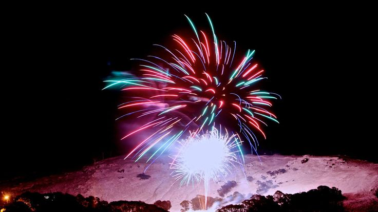 Fireworks in the night sky at Falls Creek snow resort in Victoria, Australia #snowaus