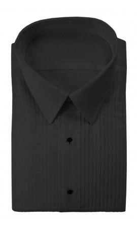 """Enzo"" Black Pleated Laydown Tuxedo Shirt"