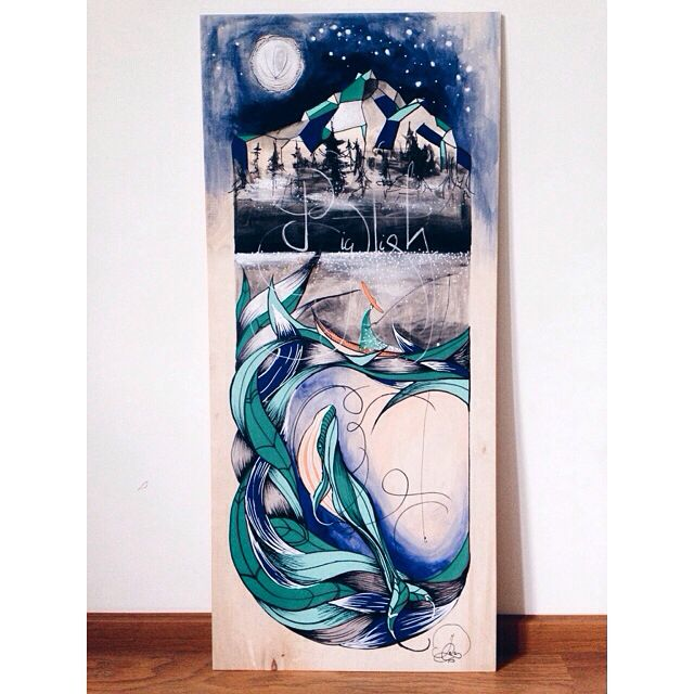 "Ieva Ozola Arts. Painting ""Big fish"". Wood panel, acrylic, ink . 95x42 cm"