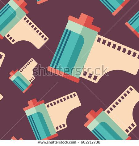 Hipster film roll flat icon seamless pattern. #retro #retropattern #vectorpattern #patterndesign #seamlesspattern
