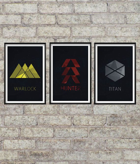 Destiny Video Game Art Set - Warlock, Hunter, Titan - Class Symbols