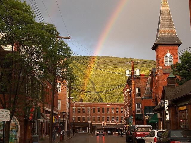A rainbow over downtown Brattleboro, Vermont