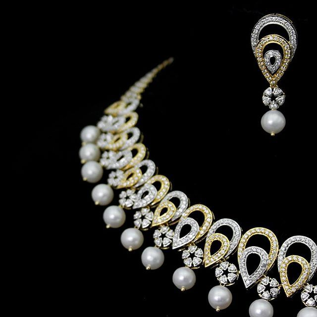 #Designer #fashionjewellery made from #real #Diamond... #earrings #necklace #Charu #Jewels