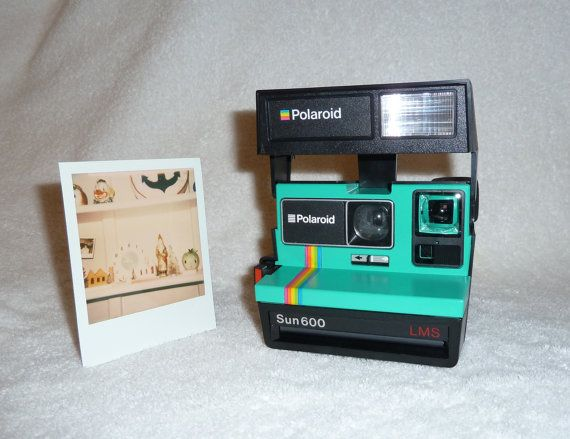 Rainbow Striped Polaroid Sun 600 LMS Vintage Camera Fun To Use by UpcycledClassics
