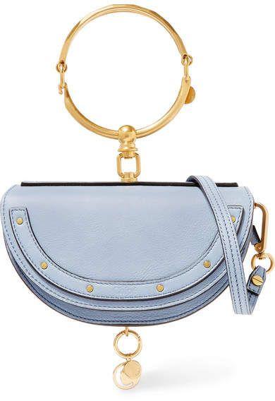 7b5879c4f690 Chloé Nile Bracelet Mini Textured-leather Shoulder Bag - Light blue ...