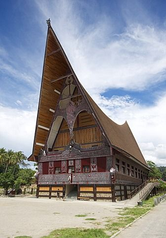 Large Batak style Catholic church with beautiful traditional Batak painted carving, Pangururan, Samosir Island, Sumatra, Indonesia, Southeast Asia, Asia