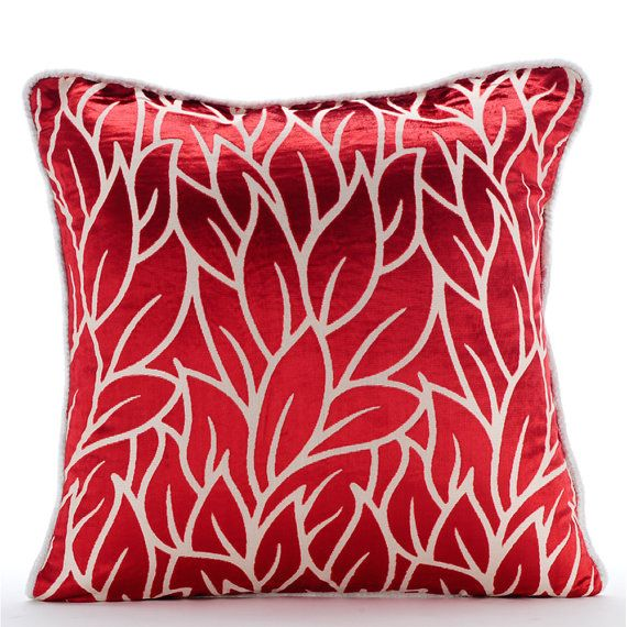 Cayenne Red Pillows Cover 16x16 Burnout Velvet