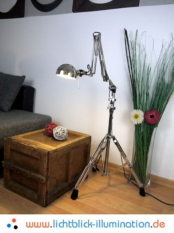 Epic Machine Age Industrie Design Gelenklampe Bauhaus Tripod Loft Lampe Chrom Leuchte Antiquit ten u Kunst
