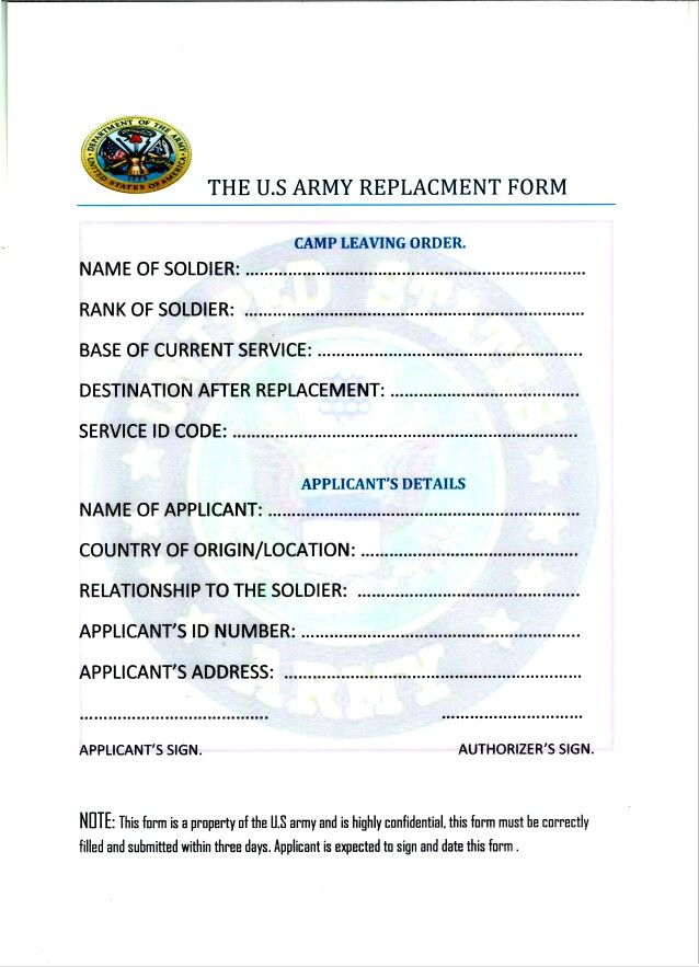 This is a fake military document beware if you see or receive one - country of origin document