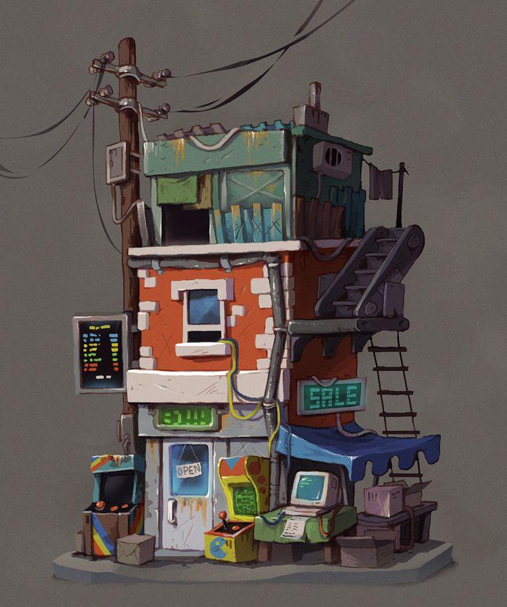 Retro postapo buildings, Krzysztof Maziarz on ArtStation at…