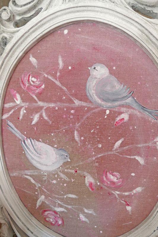 Tableau shabby chic avec ses oiseaux peint sur lin et for Tableau style shabby chic