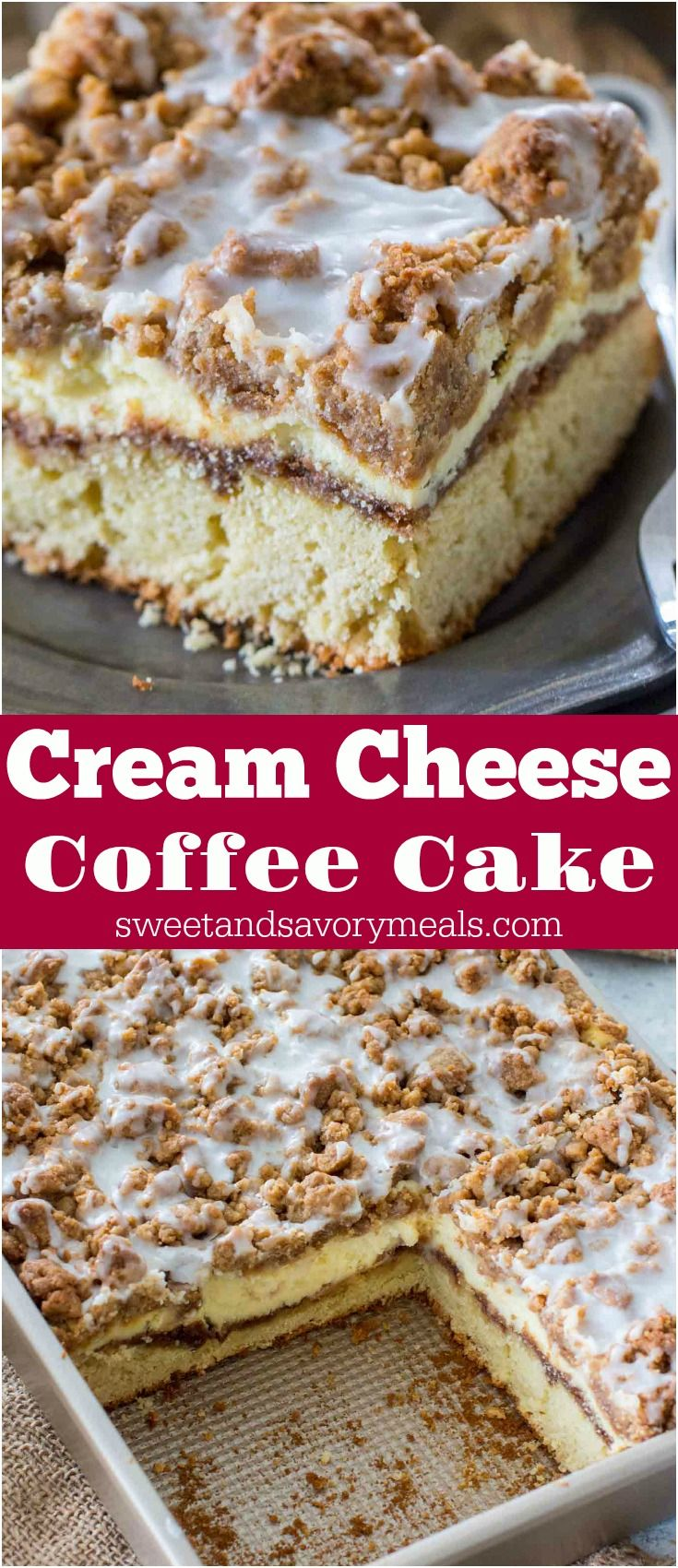 Coffee Cake recipe that you will make over and over again. A buttery cake, topped with cinnamon filling, vanilla cheesecake and a sweet streusel topping. #cake #coffeecake #dessert #streusel #cinnamonfilling
