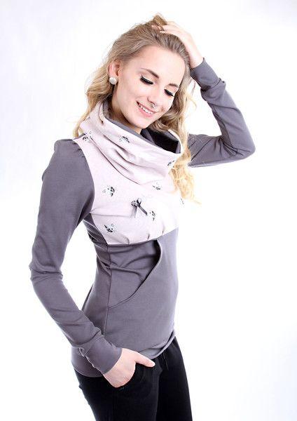 "Hoodies - MEKO ""Caryna"" Hoodie Damen Grau Katzen Kragen - ein Designerstück von meko bei DaWanda"
