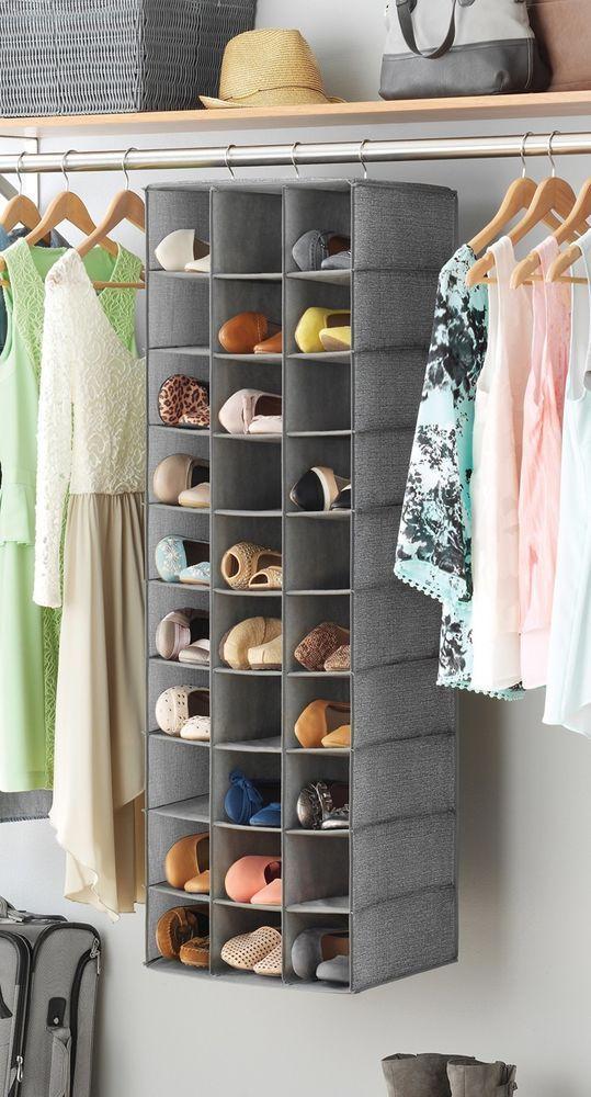 Hanging Shoe 30 Shelves Section Storage Organizer Rack Cabinet Closet Home Pair  #Whitmor