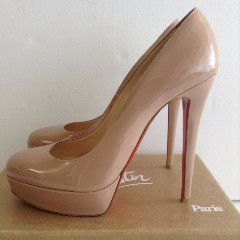 CHRISTIAN LOUBOUTIN - NUDE BIANCA 140 PATENT LEATHER HEELS - SIZE 41 / – kitty butler