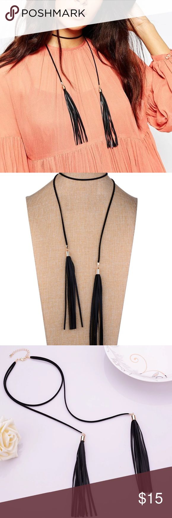 Adjustable Tassel choker necklace Adjustable Black Tassel Chocker necklace Jewelry Necklaces
