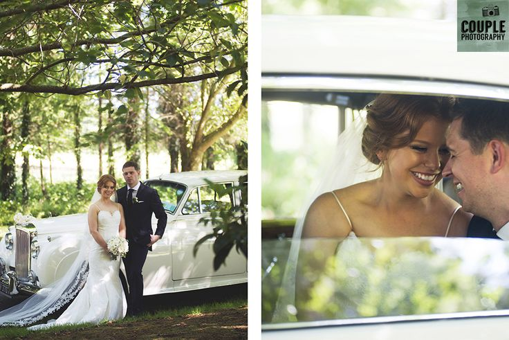The bride & groom with their wedding car. Weddings at Druids Glen Hotel by Couple Photography.