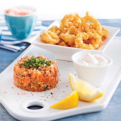 Duo de tartare de saumon et calmars frits - Recettes - Cuisine et nutrition - Pratico Pratique